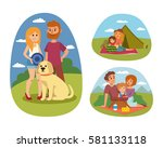 picnic setting with fresh food... | Shutterstock .eps vector #581133118