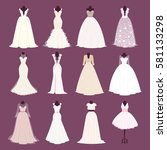 wedding bride girl dress vector ... | Shutterstock .eps vector #581133298