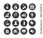 agriculture icon set in circle... | Shutterstock .eps vector #581134414