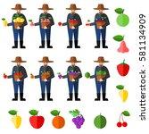 fruit farmers vector | Shutterstock .eps vector #581134909