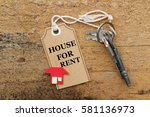 house for rent concept. rusty... | Shutterstock . vector #581136973