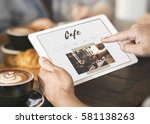 coffee time break cafe leisure... | Shutterstock . vector #581138263