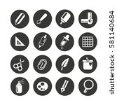 stationery icon set in circle... | Shutterstock .eps vector #581140684