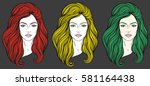 beautiful girl face with long... | Shutterstock .eps vector #581164438