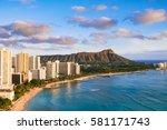 waikiki beach and diamond head... | Shutterstock . vector #581171743