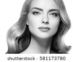 beautiful woman face close up... | Shutterstock . vector #581173780
