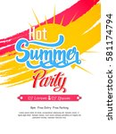 summer vector element  summer... | Shutterstock .eps vector #581174794