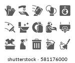 cleaning icons vector set.... | Shutterstock .eps vector #581176000