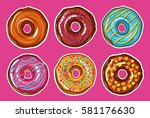 decorative hand drawn donuts... | Shutterstock .eps vector #581176630