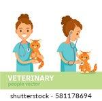 veterinarian with kitten   Shutterstock .eps vector #581178694
