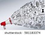 megaphone doodle concept | Shutterstock .eps vector #581183374