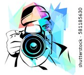 photographer on colorful... | Shutterstock .eps vector #581185630