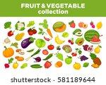 fruits  vegetables and berries... | Shutterstock .eps vector #581189644