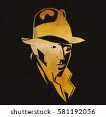 silhouette of man in a hat and... | Shutterstock .eps vector #581192056