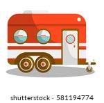 camper trail of camper bus of... | Shutterstock .eps vector #581194774