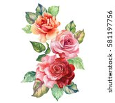 Stock photo watercolor bouquet of roses 581197756