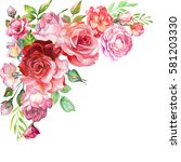Stock photo hand painting blossoming illustration of roses watercolor 581203330