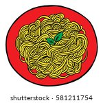 hand drawn doodle spaghetti at... | Shutterstock .eps vector #581211754