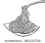 doodle noodle at plate and fork.... | Shutterstock .eps vector #581212720