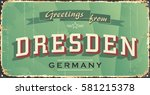 Vintage Tin Sign. Dresden City...