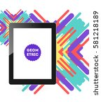 tablet pc icon with memphis...   Shutterstock .eps vector #581218189