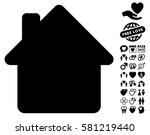 house pictograph with bonus... | Shutterstock .eps vector #581219440