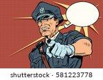 vintage police officer cop... | Shutterstock .eps vector #581223778