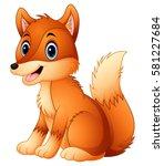 vector illustration of cute fox ... | Shutterstock .eps vector #581227684