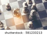 knight  chess on board business ... | Shutterstock . vector #581233213