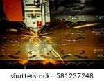 cnc laser cutting of metal ... | Shutterstock . vector #581237248