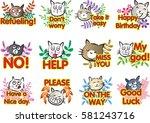 cat with letter talk sticker set | Shutterstock .eps vector #581243716
