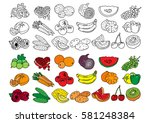 set of fruits and vegetables.... | Shutterstock .eps vector #581248384