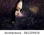 universe and woman  space sky ... | Shutterstock . vector #581259424