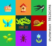 spring icons set. flat... | Shutterstock .eps vector #581261446