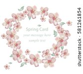 cherry flowers blossom wreath... | Shutterstock .eps vector #581261854