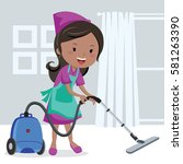 girl vacuuming floor | Shutterstock .eps vector #581263390
