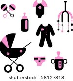 baby set of toys and clothing ... | Shutterstock .eps vector #58127818