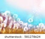 spring summer floral border... | Shutterstock . vector #581278624