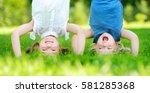 happy children playing head... | Shutterstock . vector #581285368
