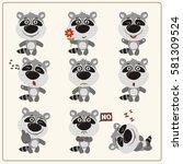 set of funny little raccoon in... | Shutterstock .eps vector #581309524