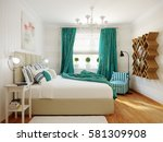 bright and cozy modern bedroom... | Shutterstock . vector #581309908