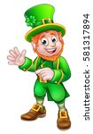 cartoon leprechaun st patricks... | Shutterstock .eps vector #581317894