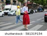 paris july 8  2015. top model...   Shutterstock . vector #581319154