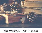 old vintage books on wooden... | Shutterstock . vector #581320000