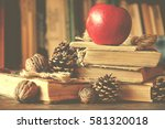 old vintage books on wooden... | Shutterstock . vector #581320018