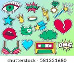 chic fashion patch badges with...   Shutterstock .eps vector #581321680