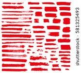red vector brush strokes of... | Shutterstock .eps vector #581325493