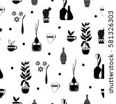 seamless pattern with plants ... | Shutterstock .eps vector #581326303