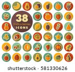set of fruits and berries flat...   Shutterstock .eps vector #581330626