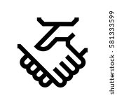 hand shake mini line  icon ... | Shutterstock .eps vector #581333599